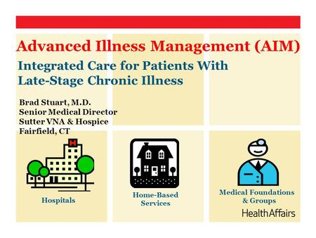Integrated Care for Patients With Late-Stage Chronic Illness Advanced Illness Management (AIM) Medical Foundations & Groups Home-Based Services Hospitals.