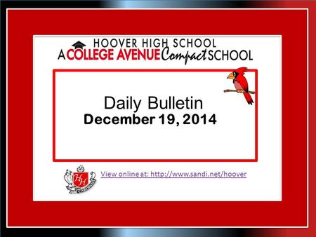 View online at:  Daily Bulletin December 19, 2014.