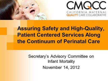 Assuring Safety and High-Quality, Patient Centered Services Along the Continuum of Perinatal Care Secretary's Advisory Committee on Infant Mortality November.