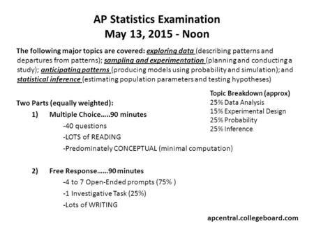 AP Statistics Examination May 13, 2015 - Noon The following major topics are covered: exploring data (describing patterns and departures from patterns);