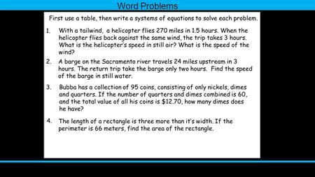 Word Problems. Homework With a tailwind, a helicopter flies 270 miles in 1.5 hours. When the helicopter flies back against the same wind, the trip takes.