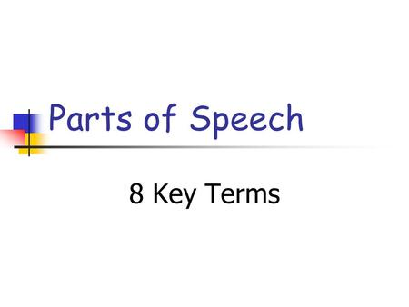 Parts of Speech 8 Key Terms. Parts of Speech * Nouns* Adverbs * Pronouns * Prepositions * Verbs * Conjunctions * Adjectives * Interjections.