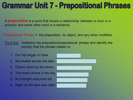 A preposition is a word that shows a relationship between a noun or a pronoun and some other word in a sentence. Prepositional Phrase = the preposition,