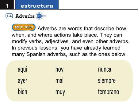 Adverbs are words that describe how, when, and where actions take place. They can modify verbs, adjectives, and even other adverbs. In previous lessons,