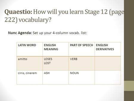 Quaestio: How will you learn Stage 12 (page 222) vocabulary? Nunc Agenda: Set up your 4-column vocab. list: LATIN WORDENGLISH MEANING PART OF SPEECHENGLISH.
