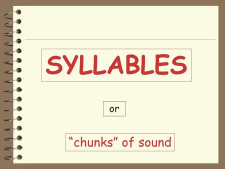 "SYLLABLES or ""chunks"" of sound Remember: 4 Every syllable has one vowel sound. 4 A syllable may or may not contain any consonants. 4 All words have at."