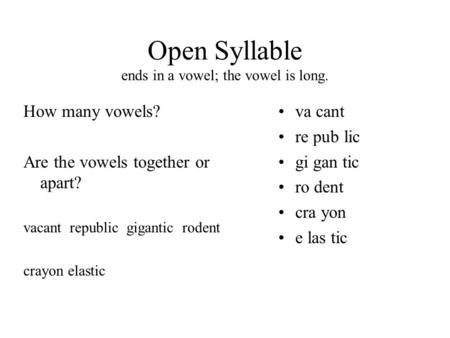 Open Syllable ends in a vowel; the vowel is long. How many vowels? Are the vowels together or apart? vacant republic gigantic rodent crayon elastic va.