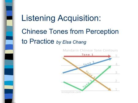 Listening Acquisition: Chinese Tones from Perception to Practice by Elsa Chang.
