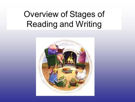 Overview of Stages of Reading and Writing. Emergent Stage of Reading and Writing—PK and K Grades Children use environmental print to help identify words.
