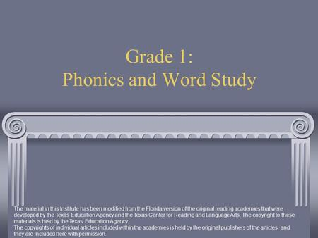 Grade 1: Phonics and Word Study