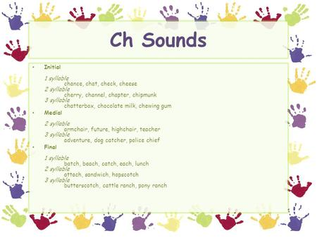 Ch Sounds Initial 1 syllable chance, chat, check, cheese 2 syllable cherry, channel, chapter, chipmunk 3 syllable chatterbox, chocolate milk, chewing gum.