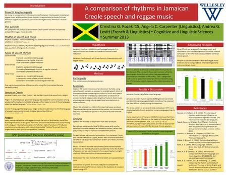 A comparison of rhythms in Jamaican Creole speech and reggae music Project's long term goals We chose to compare the rhythmic patterns of Jamaican Creole.