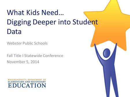 What Kids Need… Digging Deeper into Student Data Webster Public Schools Fall Title I Statewide Conference November 5, 2014.