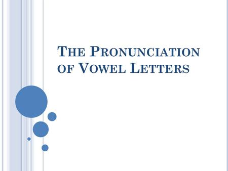 T HE P RONUNCIATION OF V OWEL L ETTERS. C ONTENT : 1. Letter-To-Sound Rules 1: Single Vowel Letters1. Letter-To-Sound Rules 1: Single Vowel Letters (