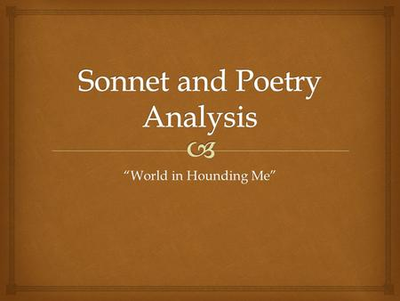 Sonnet and Poetry Analysis