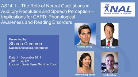 AS14.1 – The Role of Neural Oscillations in Auditory Resolution and Speech Perception – Implications for CAPD, Phonological Awareness and Reading Disorders.