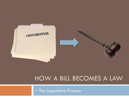 HOW A BILL BECOMES A LAW ~ The Legislative Process.