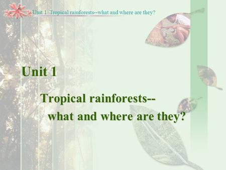Unit 1 Tropical rainforests-- what and where are they? Unit 1 Tropical rainforests--what and where are they?