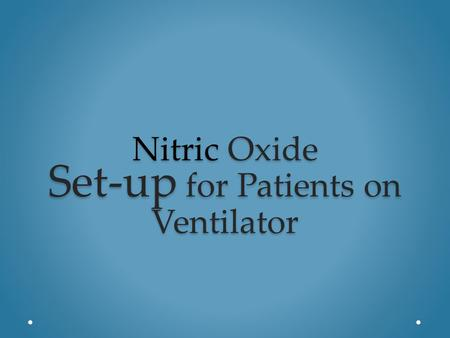 Nitric Oxide Set-up for Patients on Ventilator