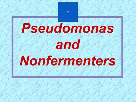 Pseudomonas and Nonfermenters D.  Opportunistic Pathogens of Plants, Animals, and Humans  Many Taxonomic Changes in Last Decade  Clinically Important.