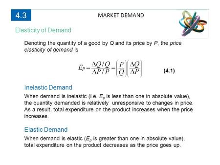 4.3 MARKET DEMAND Elasticity of Demand Inelastic Demand Elastic Demand