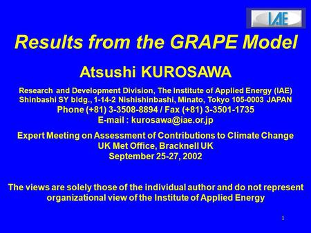 1 Results from the GRAPE Model Atsushi KUROSAWA Research and Development Division, The Institute of Applied Energy (IAE) Shinbashi SY bldg., 1-14-2 Nishishinbashi,