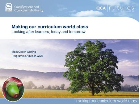 Making our curriculum world class Looking after learners, today and tomorrow Mark Orrow-Whiting Programme Adviser, QCA.