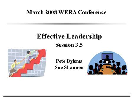 1 Effective Leadership Session 3.5 Pete Bylsma Sue Shannon March 2008 WERA Conference.