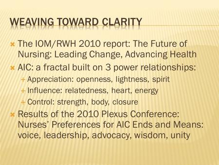 iom report future nursing Future of nursing based on iom marisol camacho grand canyon university -nrs-430 july 27, 2013 future of nursing based on iom a recent development on the landscape of nursing is the iom report the future of nursing: leading change, advancing health, which was released in october 2010.