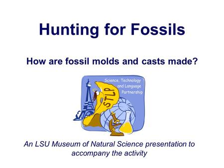 Hunting for Fossils How are fossil molds and casts made? An LSU Museum of Natural Science presentation to accompany the activity.