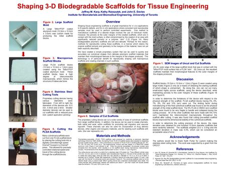 Shaping 3-D Biodegradable Scaffolds for Tissue Engineering Figure 2. Large Scaffold Mold A Large Teflon ® FEP coated aluminum mold (10.0cm x 10.0cm x 3.0cm)