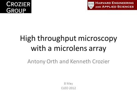 Microscopy with lens arrays
