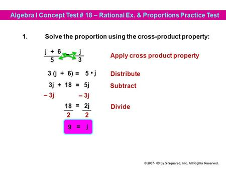 Algebra I Concept Test # 18 – Rational Ex. & Proportions Practice Test