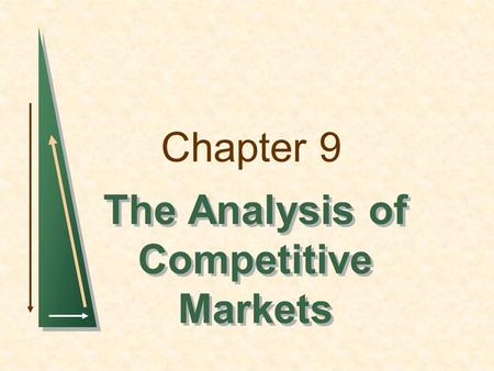 Chapter 9 The Analysis of Competitive Markets. Chapter 9Slide 2 Topics to be Discussed Evaluating the Gains and Losses from Government Policies--Consumer.