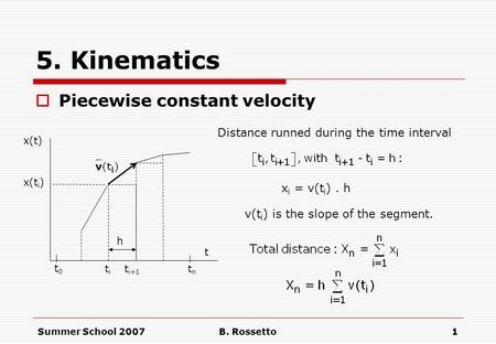 Summer School 2007B. Rossetto1 5. Kinematics  Piecewise constant velocity t0t0 tntn titi t i+1 x(t) x(t i ) h t x i = v(t i ). h Distance runned during.