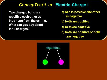 ConcepTest 1.1a Electric Charge I