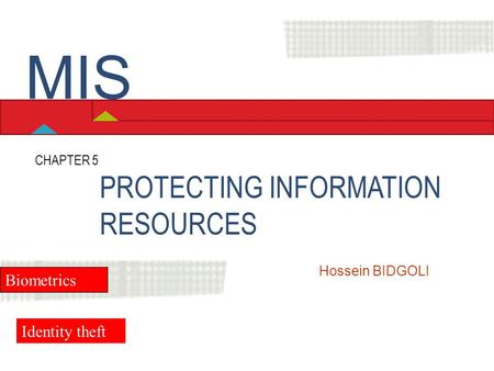 MIS PROTECTING INFORMATION RESOURCES Biometrics Identity theft
