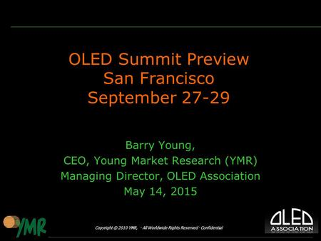 OLED Summit Preview San Francisco September 27-29