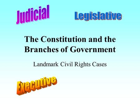 The Constitution and the Branches of Government Landmark Civil Rights Cases.