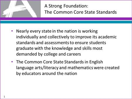 Nearly every state in the nation is working individually and collectively to improve its academic standards and assessments to ensure students graduate.