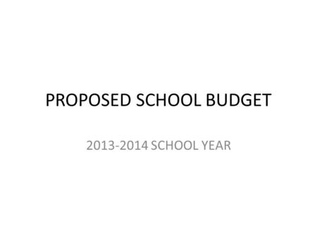 PROPOSED SCHOOL BUDGET 2013-2014 SCHOOL YEAR. BUDGET SUMMARY GENERAL FUND2012-20132013-2014Increase/Decrease WITHDRAW CAP RESERVE$150,000$275,000$125,000.