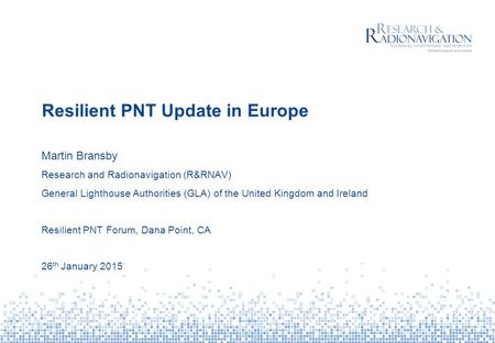Resilient PNT Update in Europe