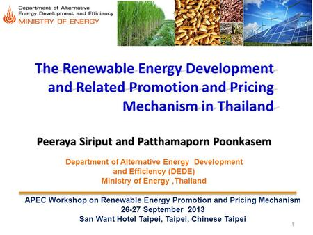 1 The Renewable Energy Development and Related Promotion and Pricing Mechanism in Thailand Peeraya Siriput and Patthamaporn Poonkasem APEC Workshop on.