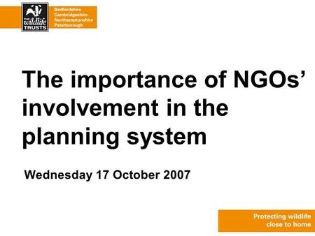 Wednesday 17 October 2007 The importance of NGOs' involvement in the planning system.