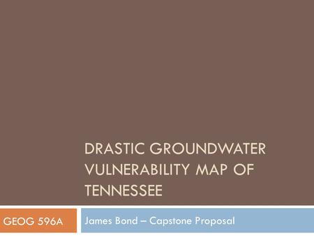 DRASTIc Groundwater Vulnerability map of Tennessee