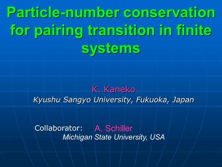 K. Kaneko Kyushu Sangyo University, Fukuoka, Japan Particle-number conservation for pairing transition in finite systems A. Schiller Michigan State University,