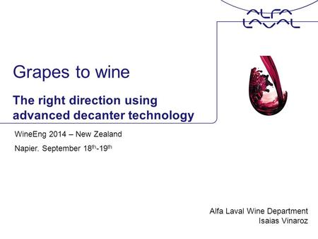 Grapes to wine The right direction using advanced decanter technology