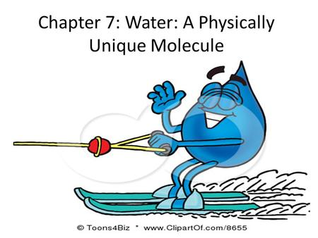 Chapter 7: Water: A Physically Unique Molecule