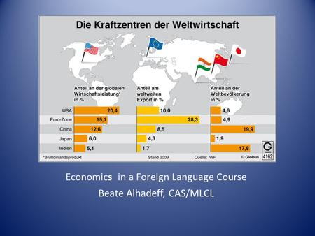Economics in a Foreign Language Course Beate Alhadeff, CAS/MLCL.