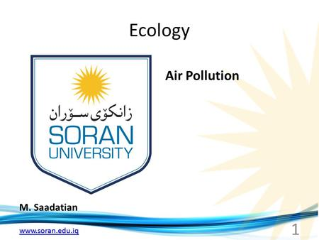Www.soran.edu.iq Ecology M. Saadatian Air Pollution 1.